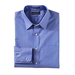 Lands' End - Blue men's slim fit straight collar easy-iron pinpoint shirt
