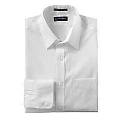 Lands' End - White men's slim fit straight collar easy-iron pinpoint shirt