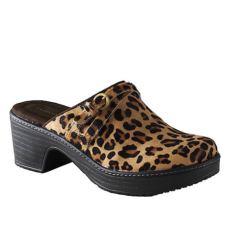 Lands+ End - Multi women+s carly leopard print clogs