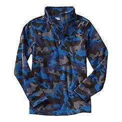 Lands' End - Blue little boys' patterned thermacheck 100 half-zip fleece pullover