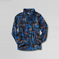 Lands' End - Blue boys' patterned thermacheck 100 half-zip fleece pullover
