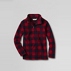 Lands' End - Red boys' patterned thermacheck 100 half-zip fleece pullover