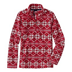 Lands' End - Red little girls' patterned thermacheck 100 half-zip fleece pullover