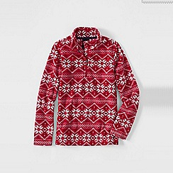 Lands' End - Red girls' patterned thermacheck 100 half-zip fleece pullover