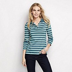 Lands' End - Blue women's striped long sleeve pima polo tall