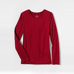 Lands' End - Red women's tall supima long sleeved crew neck tee