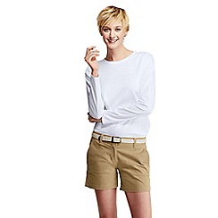 Lands' End - White women's tall supima long sleeved crew neck tee