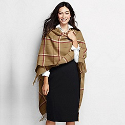 Lands' End - Brown women's plaid fringe ruana