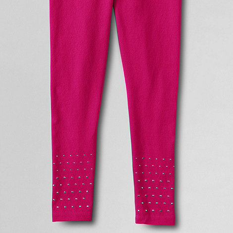 Lands+ End - Pink girls+ embellished hem leggings