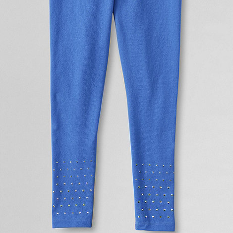 Lands+ End - Blue girls+ embellished hem leggings