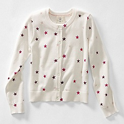 Lands' End - Cream girls' patterned sophie cardigan