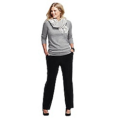 Lands' End - Black women's plus stretch knit velvet trousers