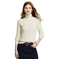 Lands' End - Cream women's cashmere roll neck