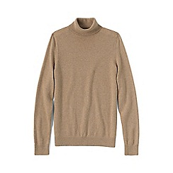 Lands' End - Beige women's cashmere roll neck