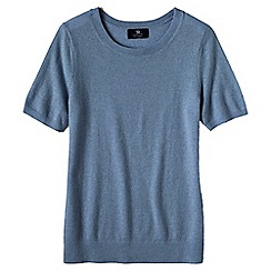 Lands' End - Pale blue women's short sleeve cashmere jumper