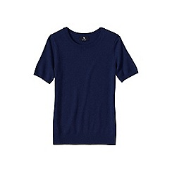 Lands' End - Blue women's short sleeve cashmere jumper