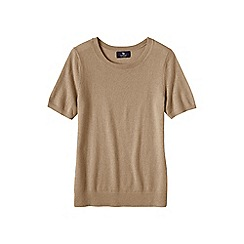 Lands' End - Beige women's short sleeve cashmere jumper