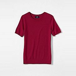 Lands' End - Pink women's short sleeve cashmere jumper