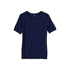 Lands' End - Blue petite short sleeve cashmere jumper