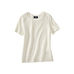 Lands' End - Cream women's short sleeve cashmere jumper