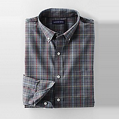 Lands' End - Grey men's regular tailored fit easy-iron twill shirt