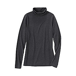Lands' End - Grey women's regular fitted cotton/modal roll neck
