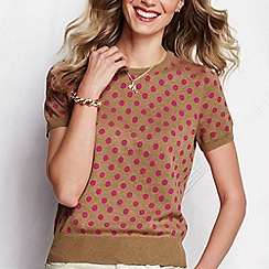 Lands' End - Cream women's patterned supima fine gauge short sleeve jumper