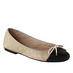 Lands' End - Cream women's brooklyn cap toe ballet shoes