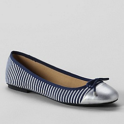 Lands' End - Deep sea stripe womens 'Brooklyn' cap toe ballet shoes