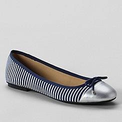 Lands' End - Deep sea stripe womens 'Brooklyn' cap toe ballet shoes