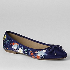 Lands' End - Blue women's brooklyn cap toe ballet shoes