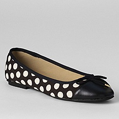 Lands' End - Black women's brooklyn cap toe ballet shoes