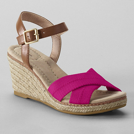 Lands+ End - Pink women+s taylor cross-strap wedge sandals