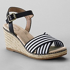 Lands' End - Black women's taylor cross-strap wedge sandals