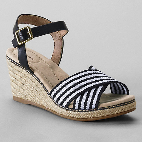 Lands+ End - Black women+s taylor cross-strap wedge sandals