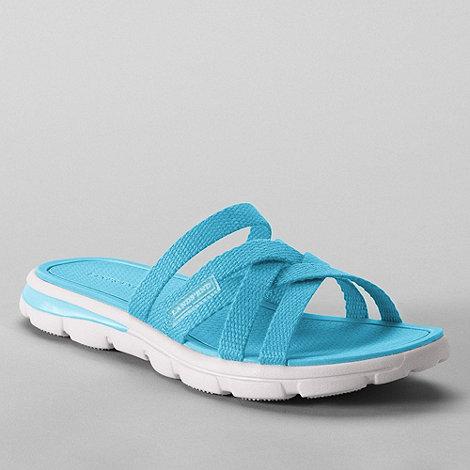 Lands+ End - Blue women+s  alpargata slip-on sandals