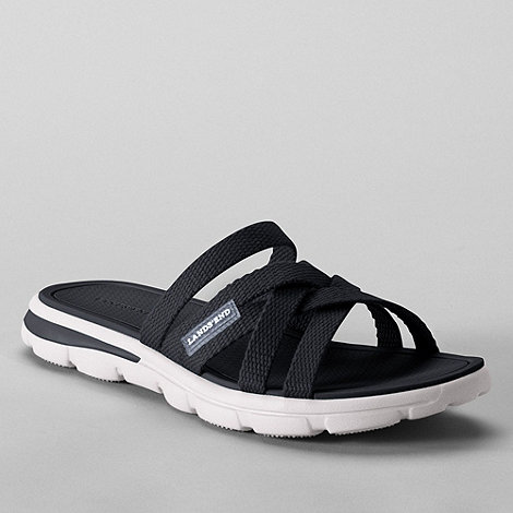 Lands+ End - Black women+s  alpargata slip-on sandals