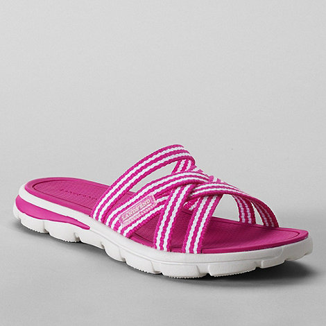 Lands+ End - Pink women+s  alpargata slip-on sandals