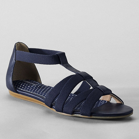 Lands+ End - Blue women+s regular mara flat sandals