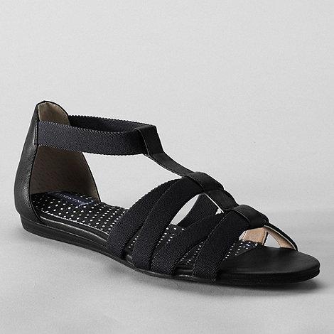 Lands+ End - Black women+s regular mara flat sandals
