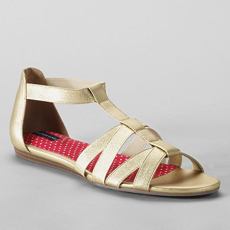 Lands+ End - Gold women+s regular mara flat sandals