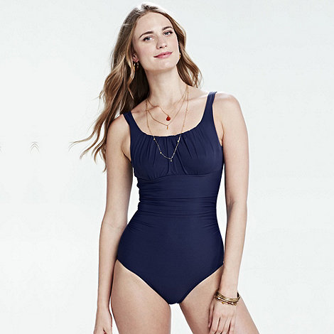 Lands+ End - Blue women+s dd-cup scoop neck slender swimsuit