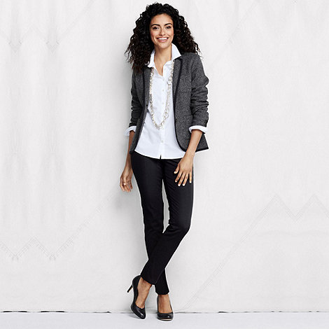 Lands+ End - Black women+s tall side-zip stretch twill ankle trousers
