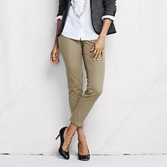 Lands' End - Green women's tall side-zip stretch twill ankle trousers