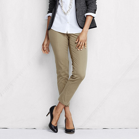 Lands+ End - Green women+s tall side-zip stretch twill ankle trousers