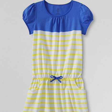 Lands+ End - Multi girls+ short sleeve drop waist jersey dress