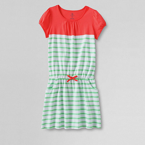Lands+ End - Green girls+ short sleeve drop waist jersey dress