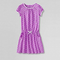 Lands' End - Pink girls' short sleeve drop waist jersey dress