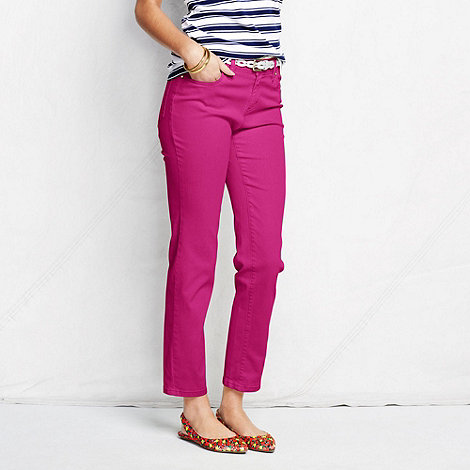 Lands+ End - Pink women+s petite bright ankle jeans