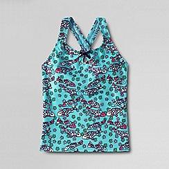 Lands' End - Blue girls' shoreside printed keyhole tankini top